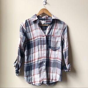Knox Rose plaid lace back button down shirt XS